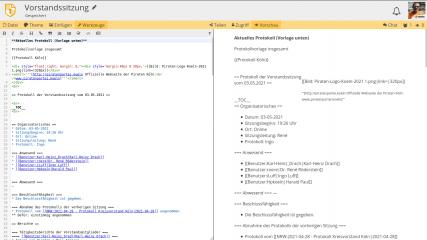 Screenshot des Cryptpads. Hier das Pad für die Vorstandssutzung.
